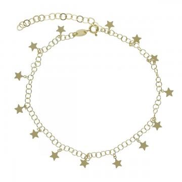 Tobillera estrellas en oro