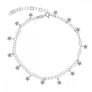 Tobillera estrellas en plata